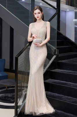 Sexy Mermaid V-neck Silver Mermaid Prom Dress_18