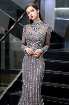 Luxury Sparkle Cap sleeves High neck Beads Long Prom Dresses_9