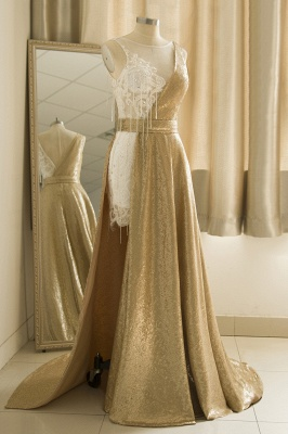 Sparkle Gold One shoulder Lace Sequined Prom Dress with Belt_4