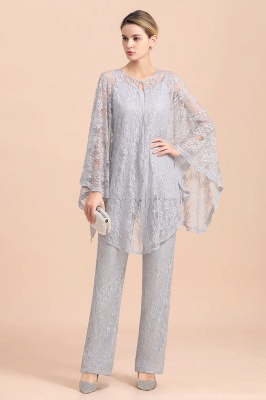 Trendy Long sleeves Silver Lace Wraps V-Neck Mother of Bride Jumpsuit_5