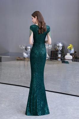 Shining Sequined Emerald Green Mermaid Cap sleeve Long Prom Dress_7