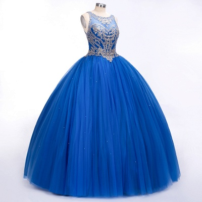 Royal Blue Illusion neck Ball Gown Fully Beaded Bodice Prom Dress_5