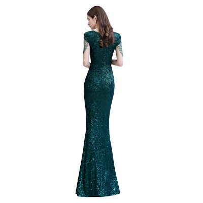Shining Sequined Emerald Green Mermaid Cap sleeve Long Prom Dress_11