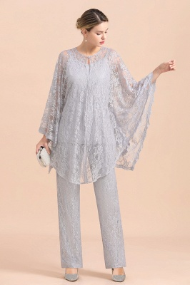 Trendy Long sleeves Silver Lace Wraps V-Neck Mother of Bride Jumpsuit_7