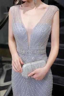 Sexy Mermaid V-neck Silver Mermaid Prom Dress_14