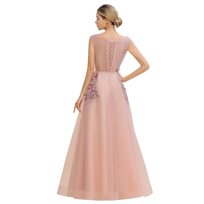 Sleeveless Crew Neck Tulle Floral Appliques Evening Party Dress Floor Length Aline Party Dress_13