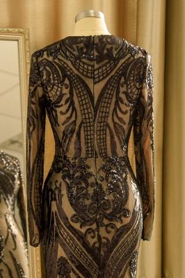 Vestido de fiesta de lujo con cuello redondo y lentejuelas negras_9