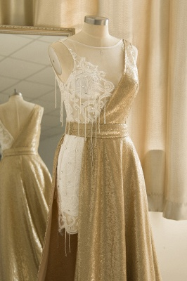 Sparkle Gold One shoulder Lace Sequined Prom Dress with Belt_6