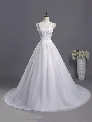 Sweetheart Beading Appliques A-line Wedding Dresses | Chic Tulle Pleated Bridal Gowns_1