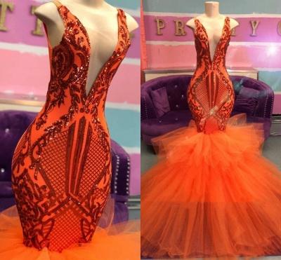 Sexy Sleeveless Deep V-neck Tulle Puffy Train Orange Prom Dress_2