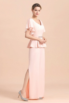 Cap sleeves V-neck Pink Two pieces Long mother of the bride dress_10