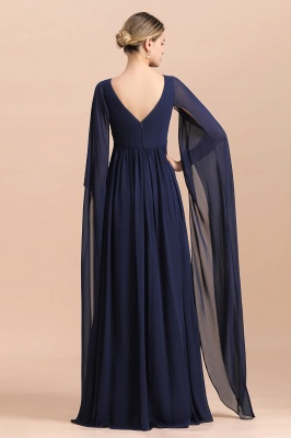 Azul marino oscuro Escote en V profundo Cintura alta Una línea Cinturón moldeado Vestidos para madre_3