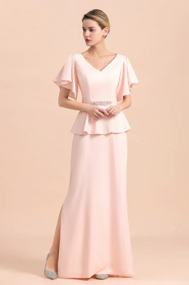 Cap sleeves V-neck Pink Two pieces Long mother of the bride dress_6