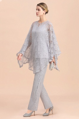 Trendy Long sleeves Silver Lace Wraps V-Neck Mother of Bride Jumpsuit_6