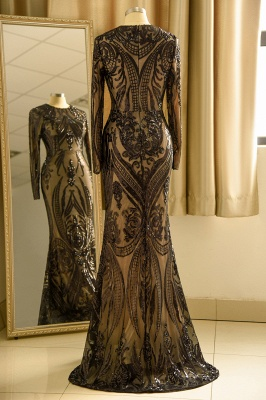 Vestido de fiesta de lujo con cuello redondo y lentejuelas negras_5