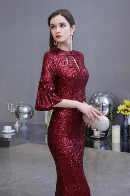 Glittering Half Sleeves Keyhole Mermaid Long Burgundy Prom Dress_3