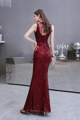Élégante robe de bal sirène sans manches à col illusion bordeaux_5