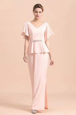 Cap sleeves V-neck Pink Two pieces Long mother of the bride dress_9