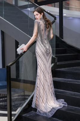 Cap sleeves High neck Sparkle Beads Long Prom Dresses Online_6