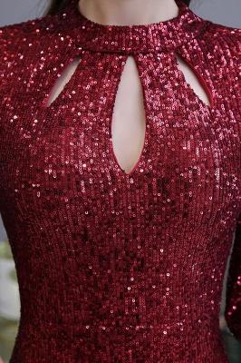 Glittering Half Sleeves Keyhole Mermaid Long Burgundy Prom Dress_10