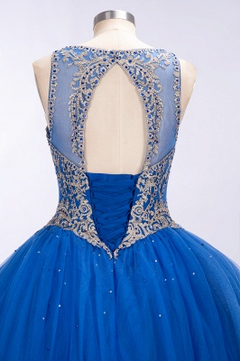 Royal Blue Illusion neck Ball Gown Fully Beaded Bodice Prom Dress_7