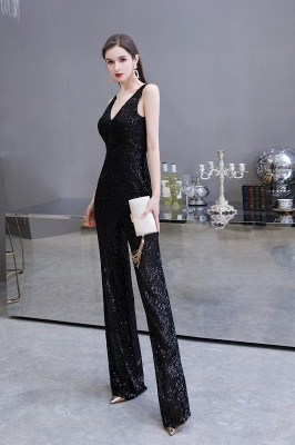 Sexy Shining V-neck Silver Sequin Sleeveless Prom Jumpsuit_18