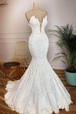 Schatz Plugging V-Ausschnitt Mermaid White Brautkleider in Real Model mit Lace Train_1