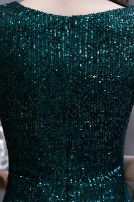 Shining Sequined Emerald Green Mermaid Cap sleeve Long Prom Dress_15