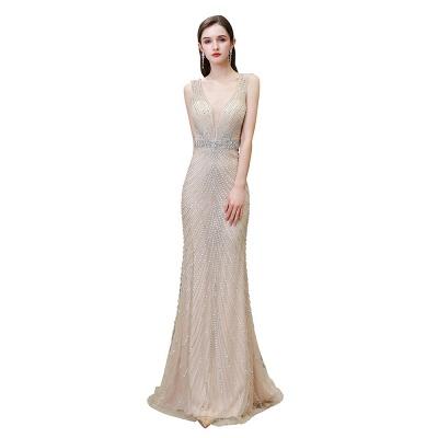 Sexy Mermaid V-neck Silver Mermaid Prom Dress_29