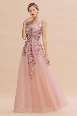 Sleeveless Crew Neck Tulle Floral Appliques Evening Party Dress Floor Length Aline Party Dress_10