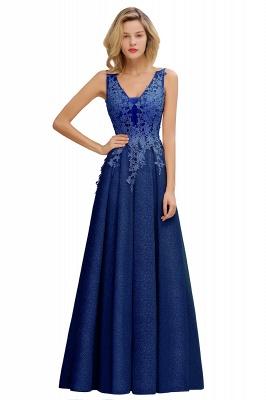Rebacca | A-Line V-neck Floor-Length Tulle Sequined Prom Dresses_4