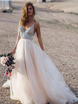 Spaghetti Straps Deep V-neck Beads Wedding Dresses | Sexy Tulle Floor Length Bridal Gowns_1