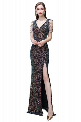 Sparkle V-neck High split Sleeveless Black Evening Dress Online_1