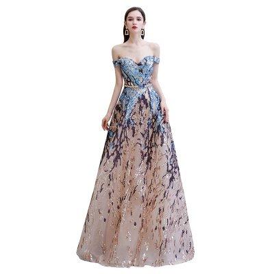 Funkeln Sie von der Schulter Rainbow Pailletten A-Linie Long Prom Dress_9