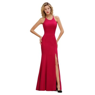 Sexy Halter Mermaid Evening Maxi Gown Side Slit Party Dress_9