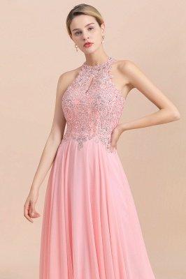 Vestidos de dama de honor de una línea halter con cuentas de peras rosas modestas_20
