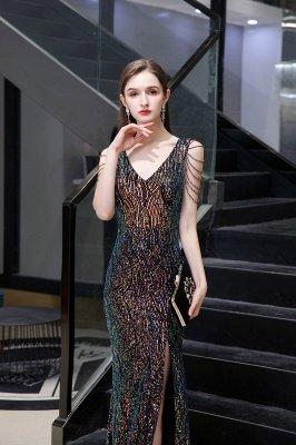 Sparkle V-neck High split Sleeveless Black Evening Dress Online_6