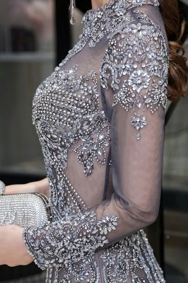 Luxury Sparkle Cap sleeves High neck Beads Long Prom Dresses_13