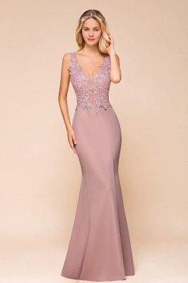 Charming 3D Lace Appliques Mermaid Prom Dress Sleeveless Floor Length Side Slit Evening Gown