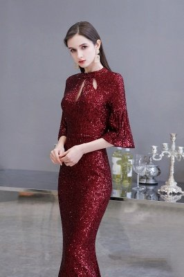 Glitzernde Half Sleeves Keyhole Mermaid Long Burgund Prom Kleid_4