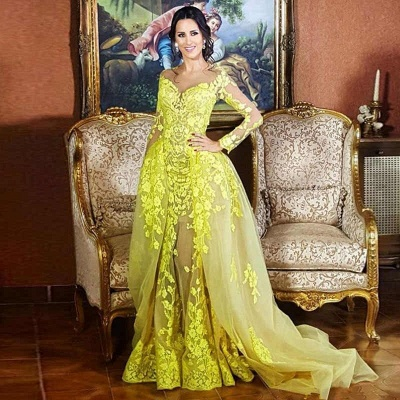 Elegant Lace Long Sleeves Sweetheart Party Dresses With Detachable Skirt   Yellow Tulle Evening Gowns_3