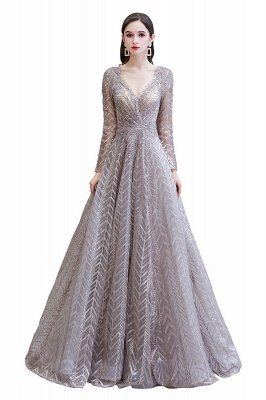 Modest Long sleeves V-neck Princess Prom Dress_1