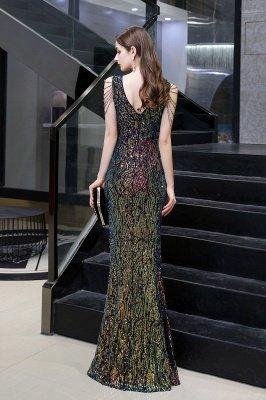 Sparkle V-neck High split Sleeveless Black Evening Dress Online_14