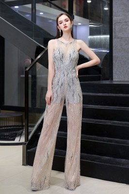 Sparkle Illusion High Neck Durchsichtiger Prom Jumpsuit