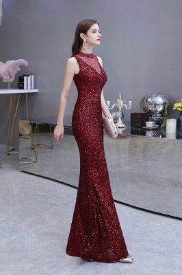 Élégante robe de bal sirène sans manches à col illusion bordeaux_13