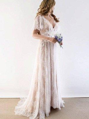 Unique robe de mariée bohème en dentelle à manches demi | Robes de mariée chic Summer Beach