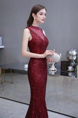 Élégante robe de bal sirène sans manches à col illusion bordeaux_9