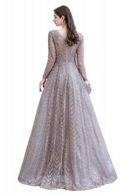 Modest Long sleeves V-neck Princess Prom Dress_15