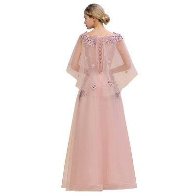 Ruffy Sleeves aline Romantic Tulle Evening Maxi Gown Pearl Lace Appliques Party Dress_6