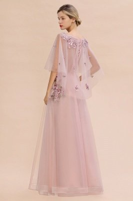 Ruffy Sleeves aline Romantic Tulle Evening Maxi Gown Pearl Lace Appliques Party Dress_11